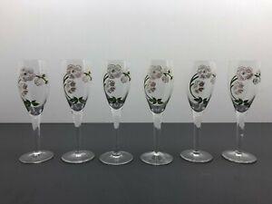 6 Flûtes à Champagne PERRIER-JOUËT verre émaillé décor Belle Epoque Art Nouveau
