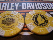 Harley Davidson Yellow & White Poker Chip from  Birch Run, MI