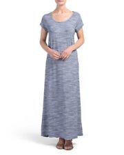 Thyme & Honey Open Back Navy Blue Space Dye Maxi Dress Casual Long Women Size M