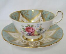 Paragon Bone China F144 Green Gold Fruit Cup & Saucer F144I Rare Minty