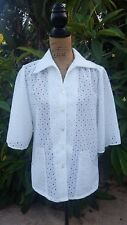 Vintage Lady Holiday Size Medium White Polyester Lace Cover-Up Jacket
