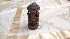 Vintage Ganesha Wood Statue Hindu God Elephant Indian Figurine Ornament