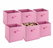 Foldable Cube Storage Bins - 6 Pack - (Pink)