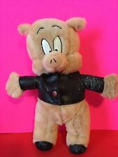 Vintage Porky Pig Plush Wearing Faux Leather Jacket Stuffed Collectible Gift