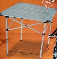 Aluminum Roll-Up Card Table w Case for Camping Picnic or Patio