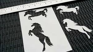 #1 HORSES Rearing Silhouette 2pcs Airbrushing Stencil Card Craft Farm Decoration
