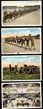 US 1915 MILITARY SEVEN PHOTOCARDS HAND COLORED TROOPS IN TRAINING THREE IN. GUN