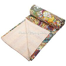 Indian Patchwork Quilt Queen Cotton Printed Coverlet Paisley Kantha Quilts
