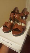 Steve Madden women's size 10 cognac leather heels, brand new in box, never worn