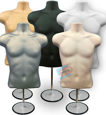 More details for male mannequin freestanding 3qtr body form top table with round stand