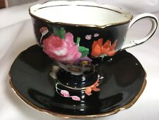 PARAGON BONE CHINA CORSET CUP AND SAUCER  ENGLAND    DW. BLACK/BOUQUET