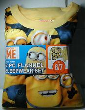 New Boys DESPICABLE ME Minion Flannel Pajamas 2 piece Sleepwear Set Size 6/7 6 7