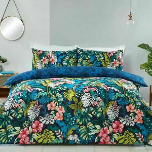 Sleepdown Tropical Jungle Leaf Double Duvet Set Luxury Reversible Bedding Set