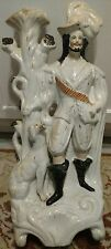 "19"" tall 19th century Staffordshire Hunter & Spaniel Figure Spill Vase Antique"
