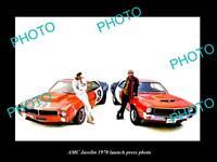OLD LARGE HISTORIC PHOTO OF 1970 AMC JAVELIN LAUNCH PRESS PHOTO
