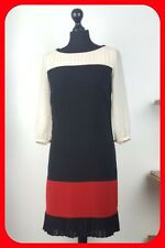 Lovely COAST Dress Size 8 Black Red Cream Long Sleeve