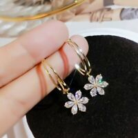 Fashion Zircon Crystal Daisy Flower Earrings Hoop Drop Dangle Women Jewellery