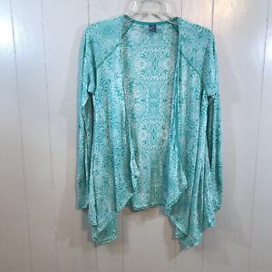 Prana Organic Cotton Blend Green White Paisley Long Sleeve Active Cardigan Top M