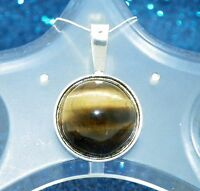 NEW TIGER'S EYE PENDANT REAL SOLID .925 STERLING SILVER 4.3 g