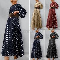 Womens Long Sleeve Polka Dot Abaya Muslim Islamic Dubai Flare A Linen Maxi Dress