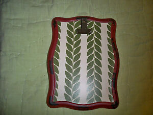 """New*Metal Clip frame easel back 8"""" x 6""""*Cream*Green Ferns*Red*Country Chic"""