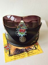 ED HARDY TORTOISE BROWN EMBELISHED SIDE SUNGLASSES WITH  EMBROIDERED CASE