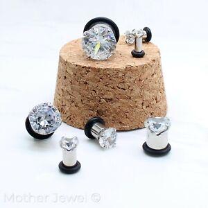 SIMULATED DIAMOND SILVER SURGICAL STEEL SCREW FLESH TUNNEL EAR PLUG SPACER