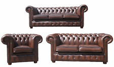 Chesterfield London English 3+2+1 Seater Antique Brown Leather Sofa Settee Suite