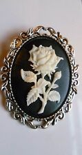 White Rose Cameo Brooch Medieval Pin Pagan Gothic Wedding Wedding
