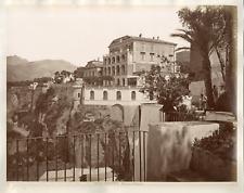 Italie, Sorrento, hôtel Vittoria, vue générale  Vintage albumen print  Tirag