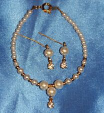 "Pearl & ""Diamond"" Necklace Set 18-22"" Miss Revlon Vintage Fashion Doll Jewelry"