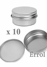 10 x 10ml Small Tin. Screw Lid. For Cream Make-Up, Nail Art, Small Item Storage