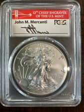 2017-W $1 Burnished Silver Eagle First Strike Mercanti Signature, SP70, PCGS ...