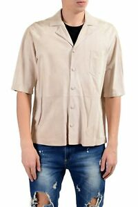 """Hugo Boss """"Charon_FS"""" Men's 100% Suede Leather Ivory Short Sleeve Casual Shirt"""