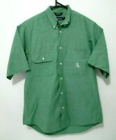 Vintage Nautica Mens Shirt Size S Green Half Sleeve 90s Button Up Front Pockets