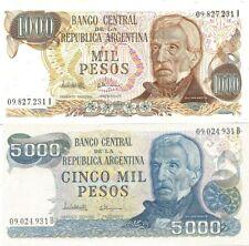 LOTE DE 2 BILLETES DE ARGENTINA 1000 Y 5000 PESOS BILLETES CIRCULADOS