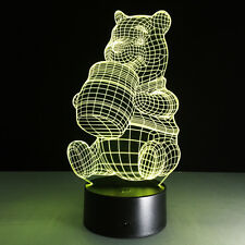 3D Night Light Lamp Acrylic Winnie the Pooh Gift Touch Switch Home Desk Decora