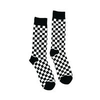 Mens Fun Socks Checkered Pattern 1 Pair - Casual Novelty Trouser Black Check