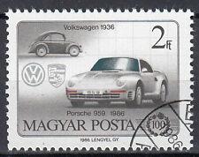 Ungarn Briefmarke gestempelt Auto Oldtimer VW Käfer Porsche 959 1986 / 1389