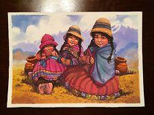 Peruvian Water color painting 4 x  7 in Original Latin America, art decor, Peru