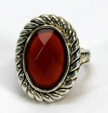 Faceted Imitation Carnelian Coral 925 STERLING SILVER Womens Cocktail Ring: 7.5