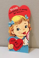 Vtg Valentine Card Pretty Little Girl Blond Lollipop Candy Sugar And Spice 50's