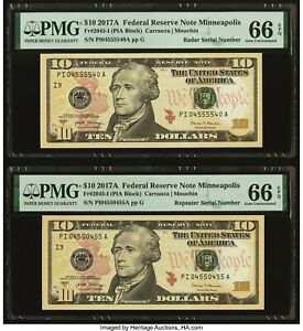 2017 A $10 FRN Repeater and Radar Serial Number Two Notes PMG 66 EPQ