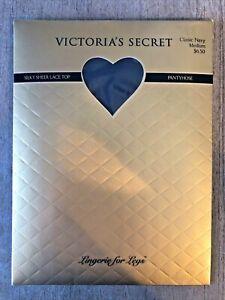 MEDIUM VICTORIAS SECRET Silky Sheer Lace Top Pantyhose Classic Navy NEW Vintage