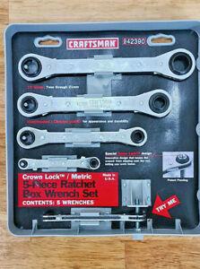 Craftsman Crown Lock Metric 5 Piece Ratchet Box Wrench Set NOS USA 1990's
