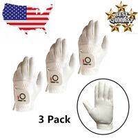 Golf Gloves Men Left Hand 3 Pack for Right-Handed Golfer Black White Large ML M