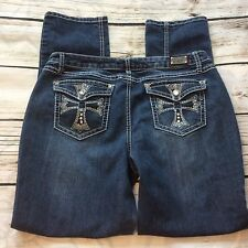 Earl Womens Jeans Size 12 Embellished Bling Blue Jean Rhinestone Straight Pants
