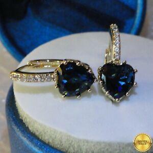 Women Elegant GF Blue Sapphire Diamond Earrings Made With Swarovski Crystals, UK