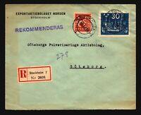Sweden 1924 Cover w/ SC# 202 / Registered / Light Creasing - Z18016