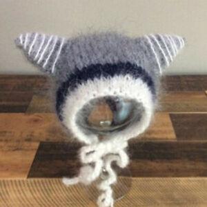 1X Newborn Ear Bear Hat Bonnet Baby Photography Props Cap Handmade Knitted Hat